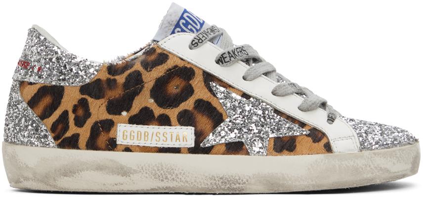 Golden Goose Silver Leopard Super-Star Sneakers