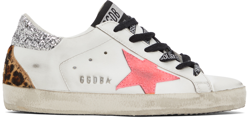 Golden Goose White & Pink Super-Star Sneakers