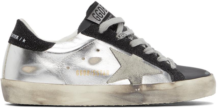 Golden Goose Silver & Black Super-Star Sneakers