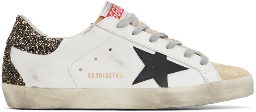 Golden Goose White & Gold Glitter Super-Star Sneakers