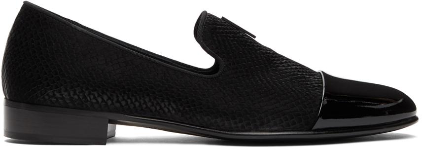 Giuseppe Zanotti 黑色 Emerson 蛇纹乐福鞋