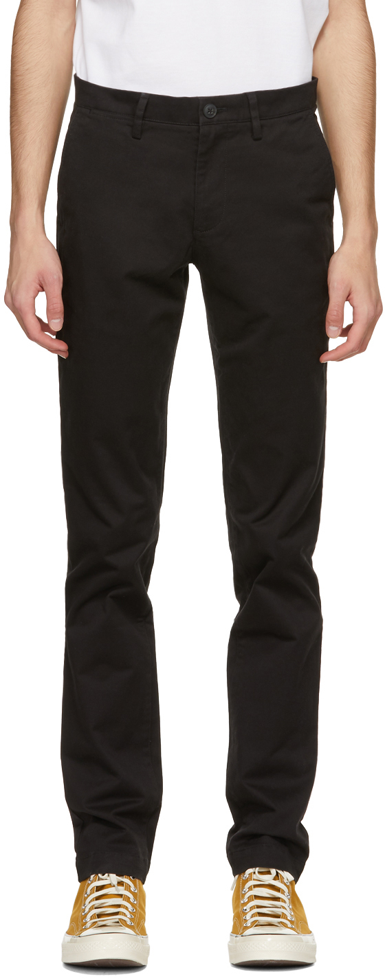Black Gabardine Slim-Fit Chino Trousers