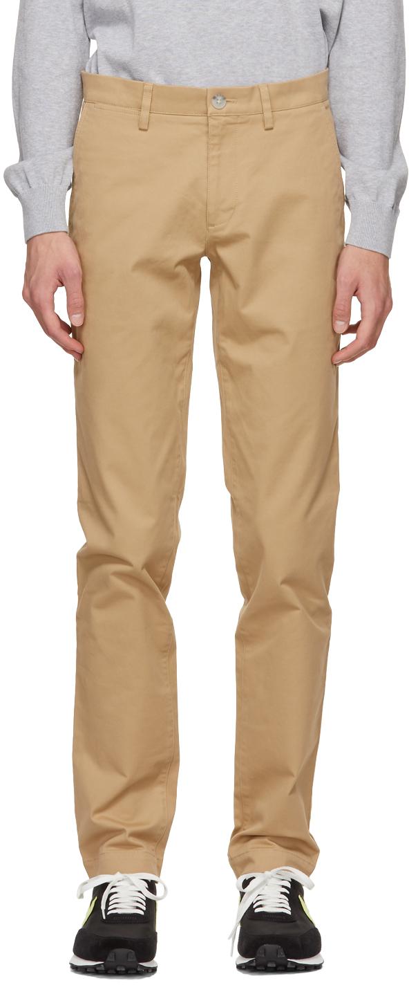 Beige Gabardine Slim-Fit Chino Trousers