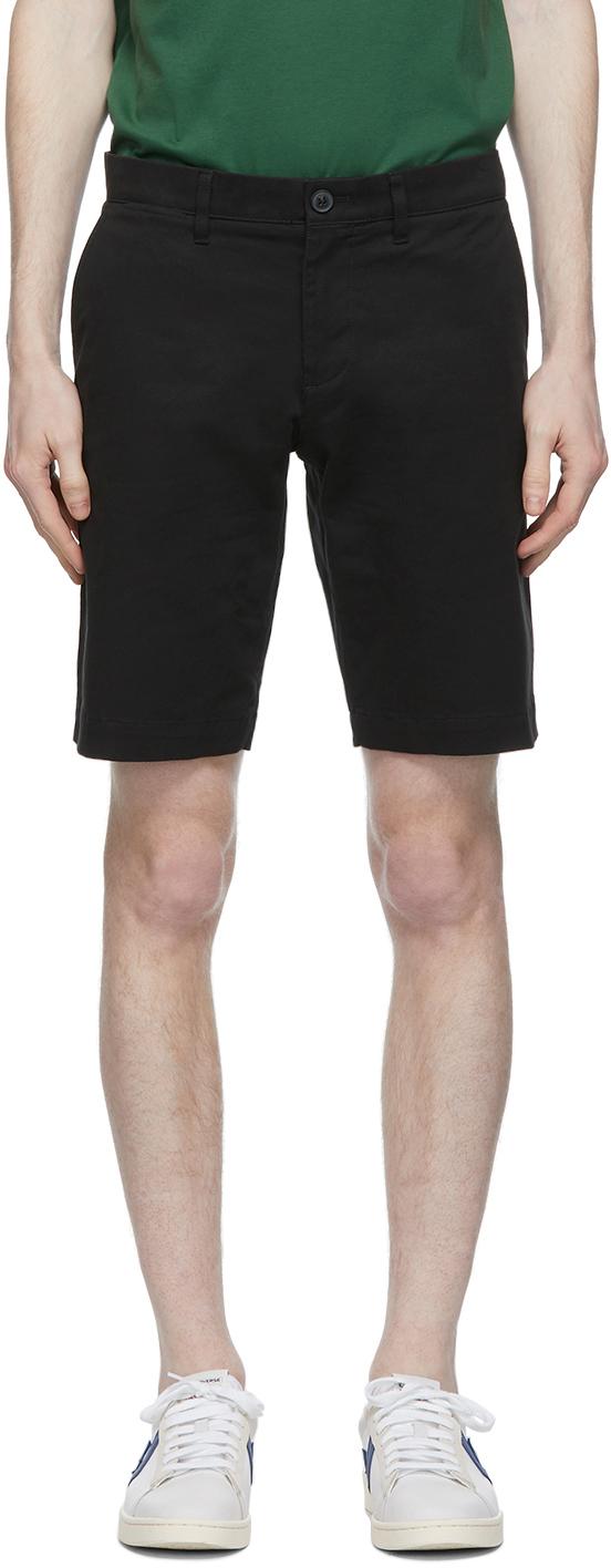 Black Stretch Gabardine Slim Fit Shorts