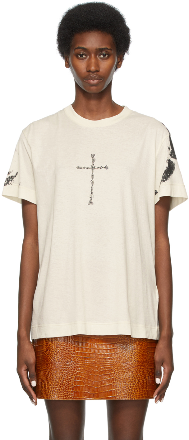 Givenchy オフホワイトプリント T シャツ