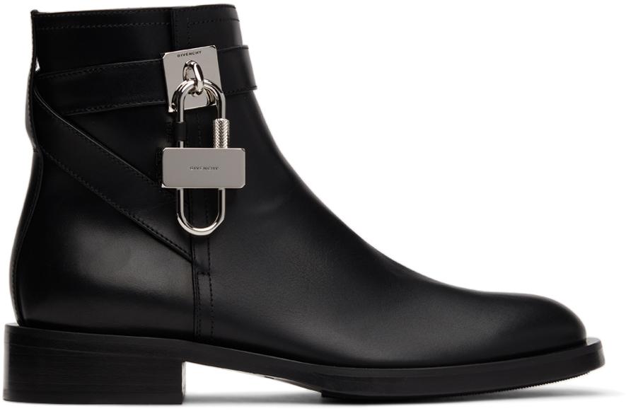 Black Flat Padlock Boots