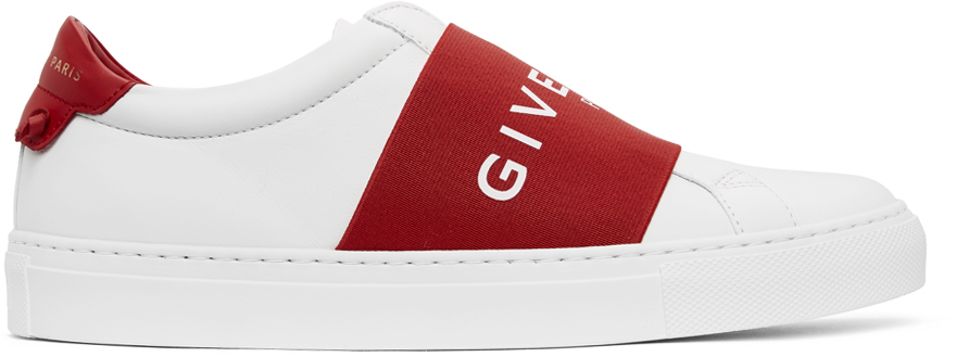 Givenchy White & Red Elastic Urban Street Sneakers