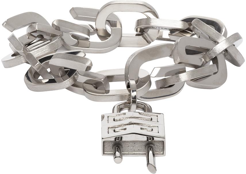 Silver G Link Padlock Bracelet