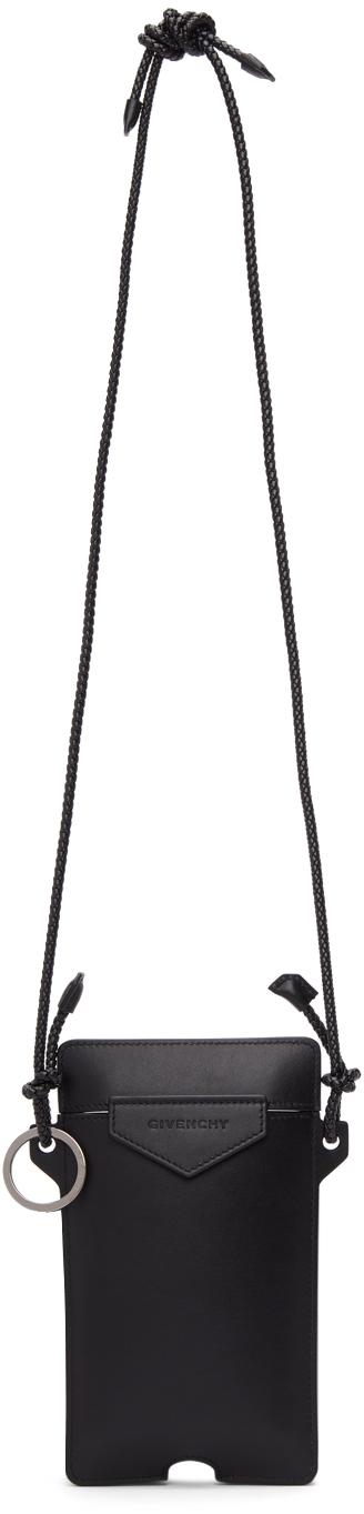 Black Leather Antigona Phone Pouch