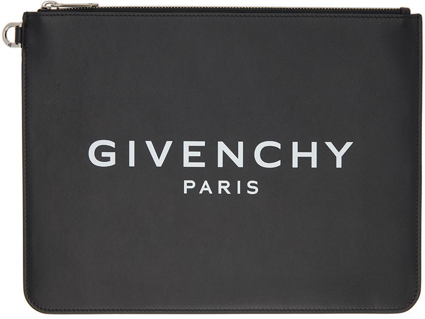 Givenchy 黑色徽标拉链手拿包