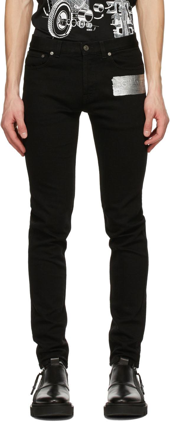 Givenchy 黑色徽标紧身牛仔裤