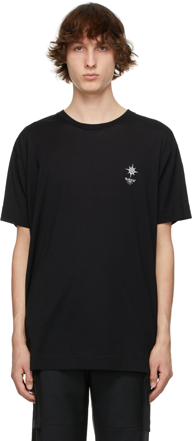 Black Oversized Logo Print T-Shirt