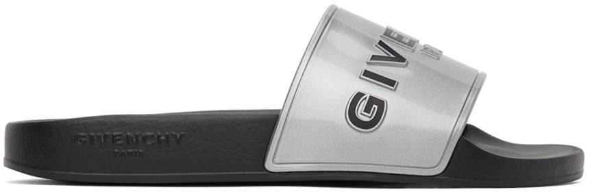 Silver Logo Flat Sandals