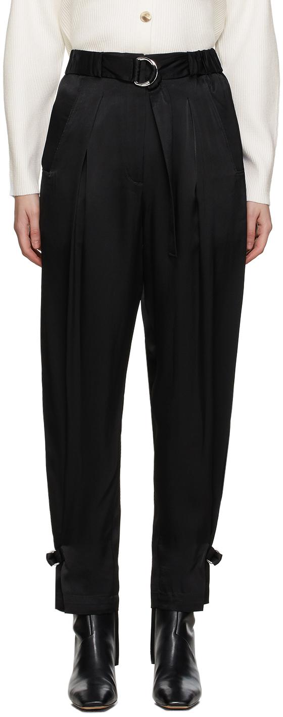 31 Phillip Lim Black Satin Track Trousers 211283F086003