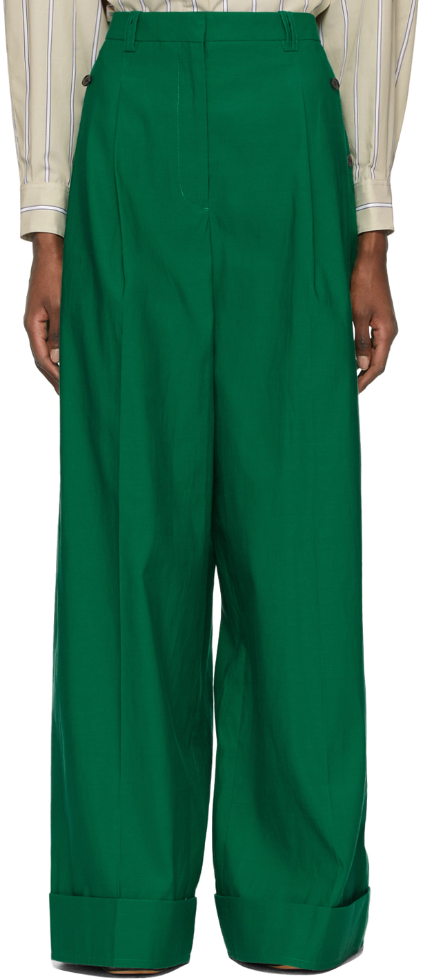 31 Phillip Lim Green Wide Leg Trousers 211283F087063