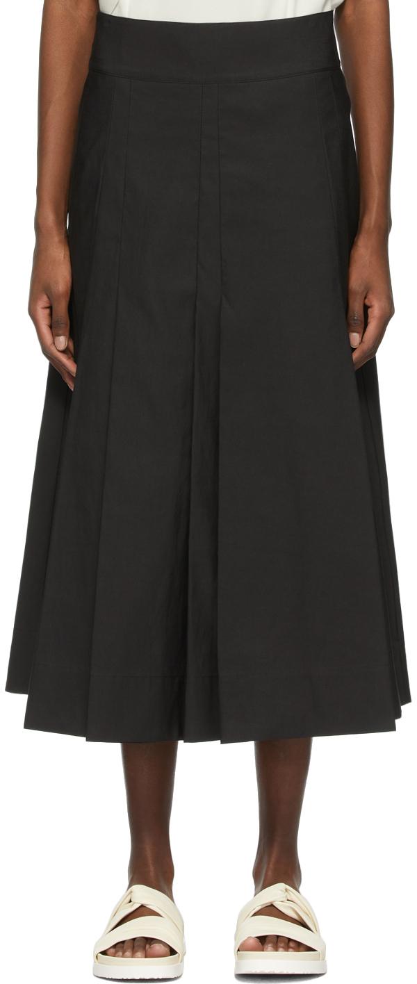 31 Phillip Lim Black Pleated A Line Skirt 211283F092085