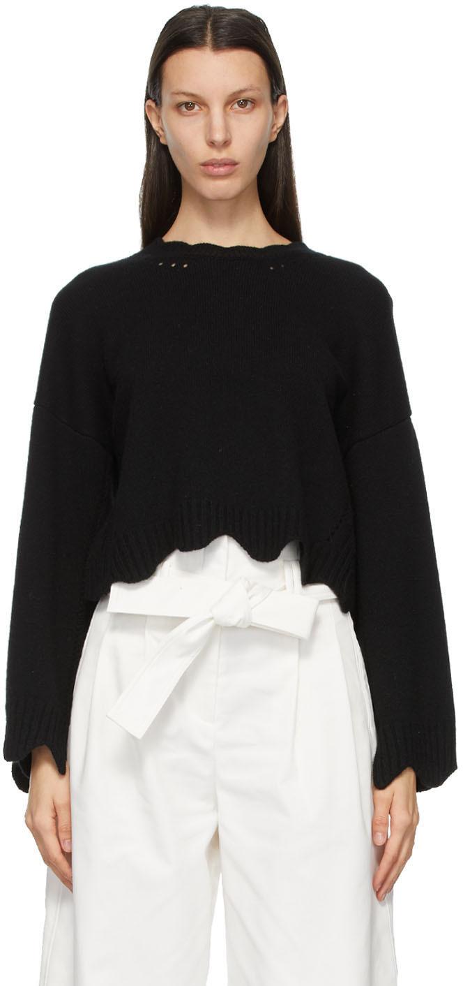 31 Phillip Lim Black Wool Cashmere Scalloped Sweater 211283F096021