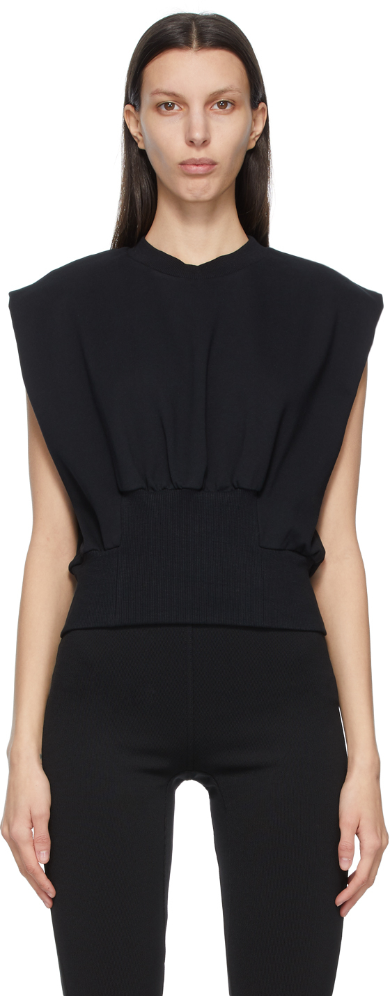 31 Phillip Lim Black French Terry Tank Top 211283F096023