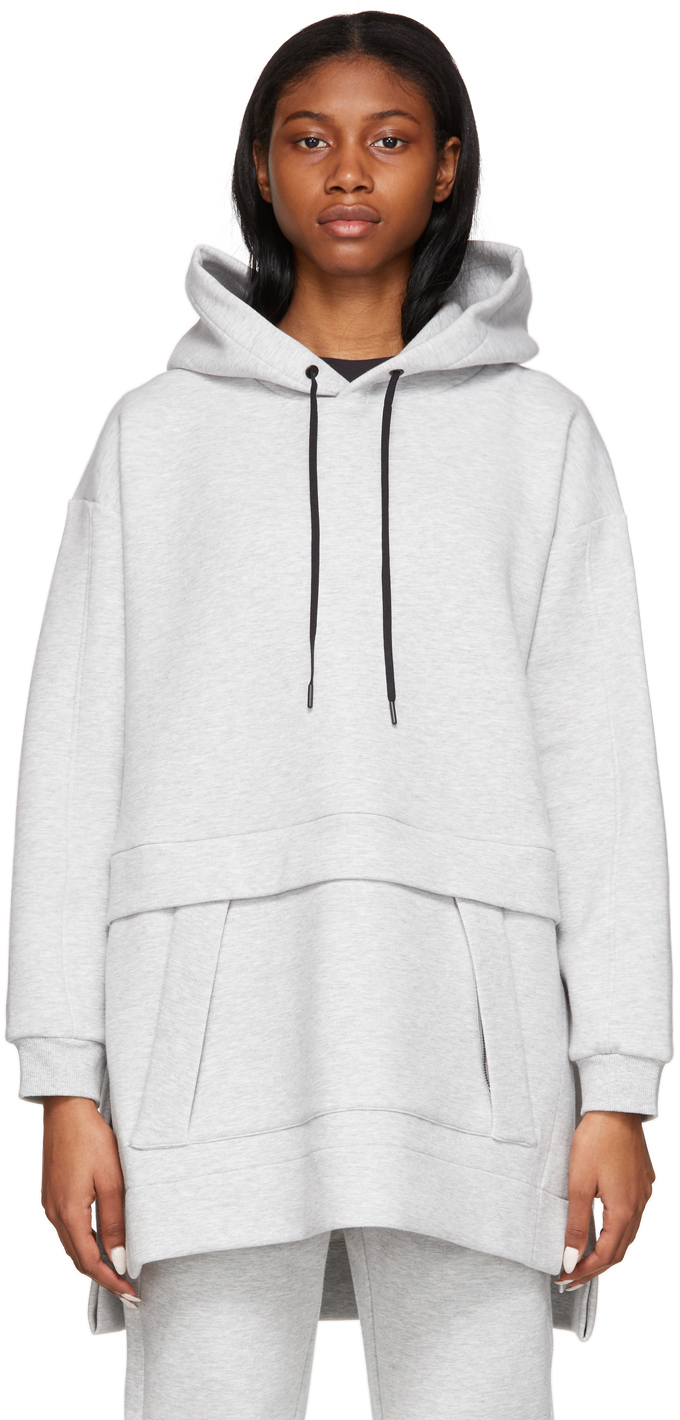 31 Phillip Lim Grey Oversized Air Cushion Hoodie 211283F097008