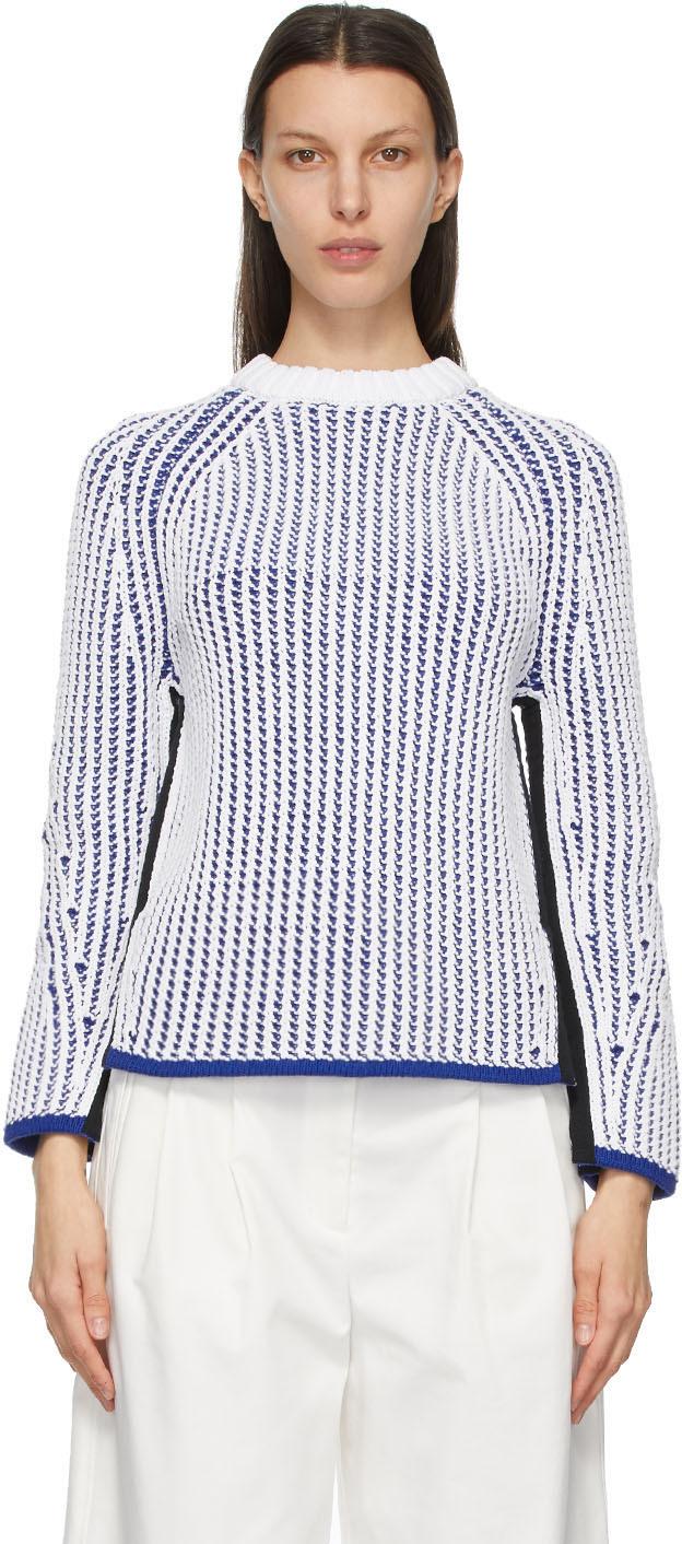 31 Phillip Lim White Blue Two Tone Sweater 211283F097009