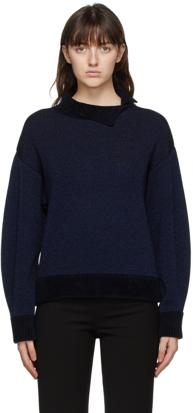 31 Phillip Lim Navy Silver Double Faced Lurex Sweater 211283F099008