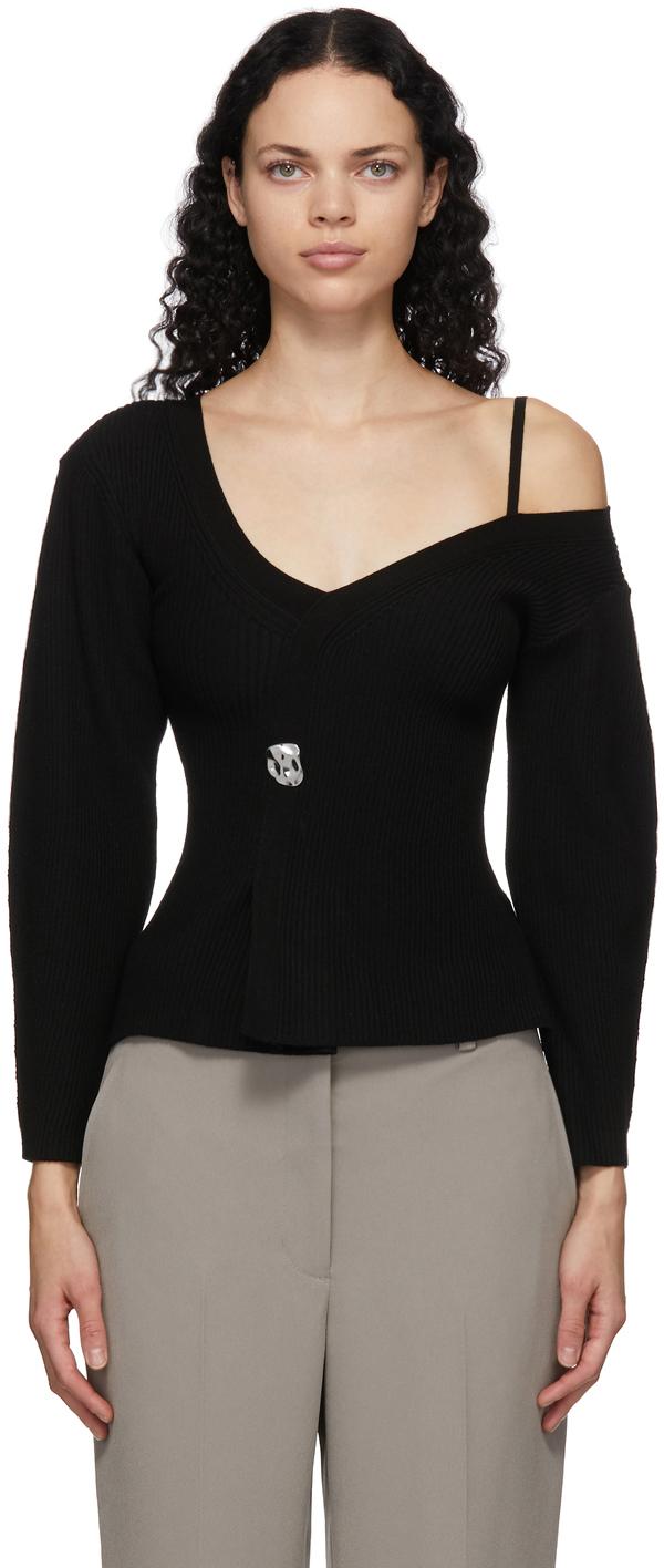 31 Phillip Lim Black Off The Shoulder V Neck Sweater 211283F100011