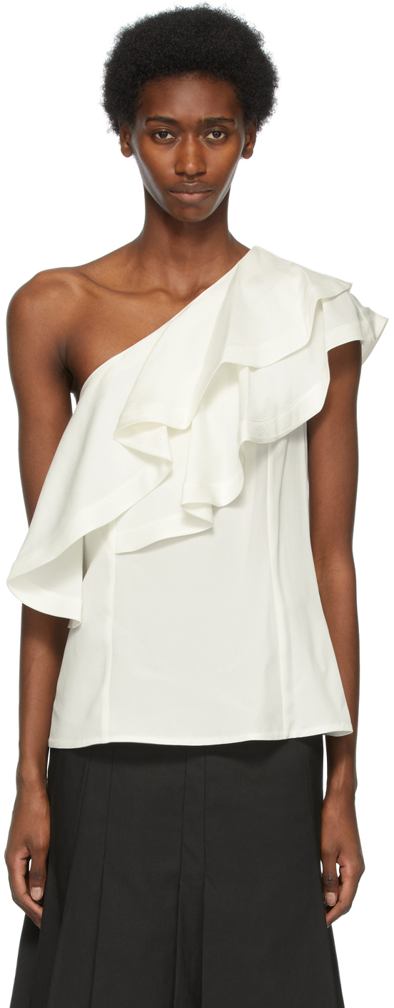 31 Phillip Lim Off White Ruffled One Shoulder Blouse 211283F107004