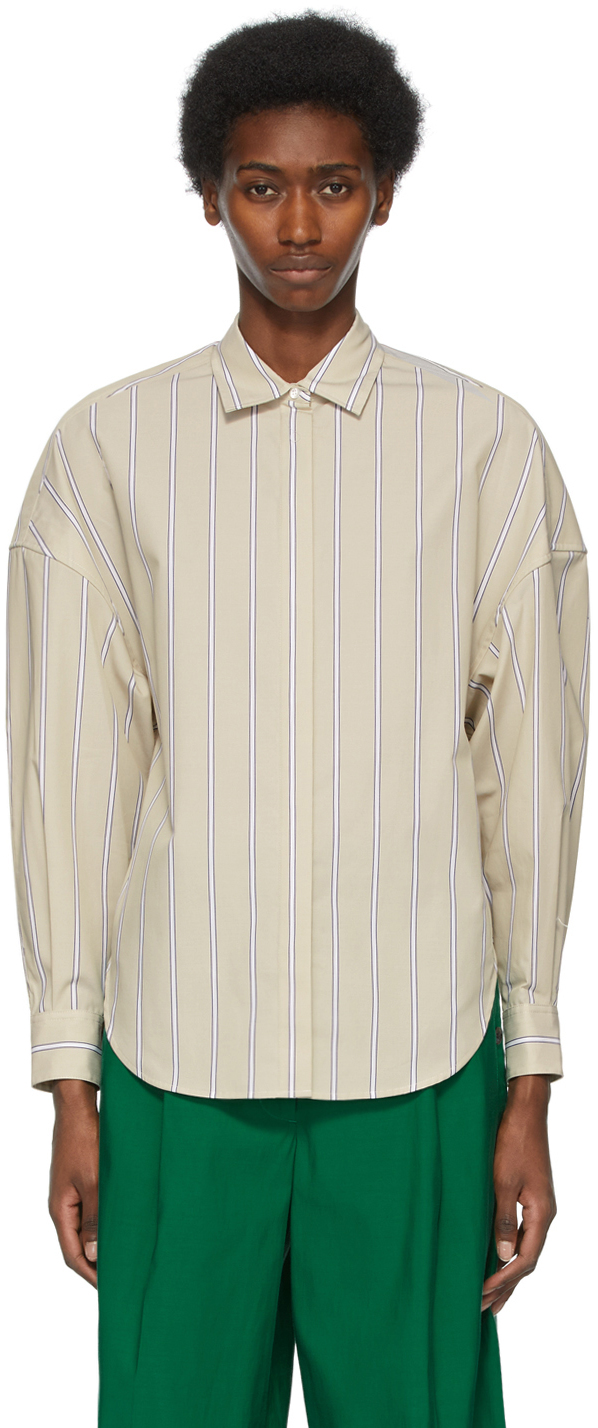 31 Phillip Lim Tan Striped Button Up Shirt 211283F109016