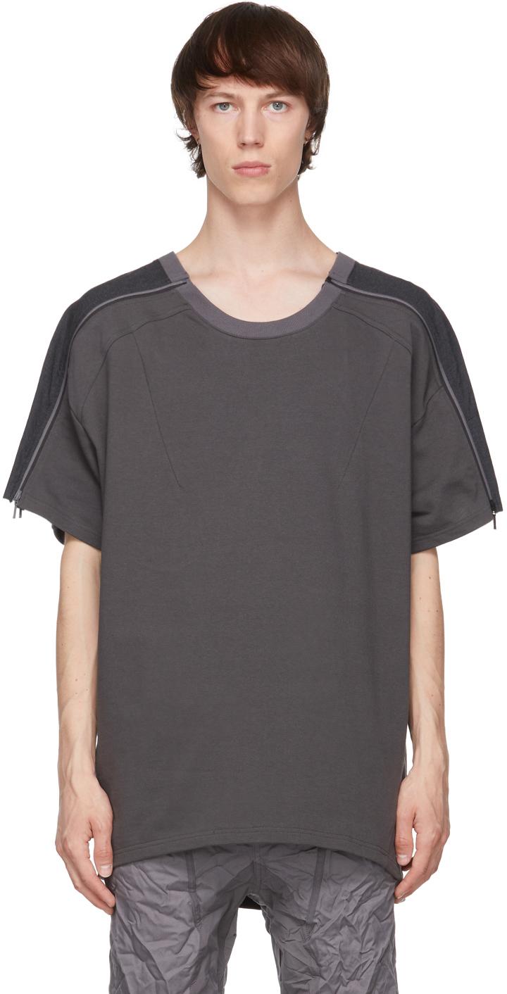 Grey Zip Panel T-Shirt