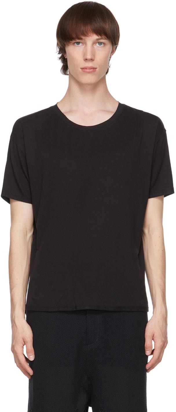 Black Raw Scallop Hem T-Shirt