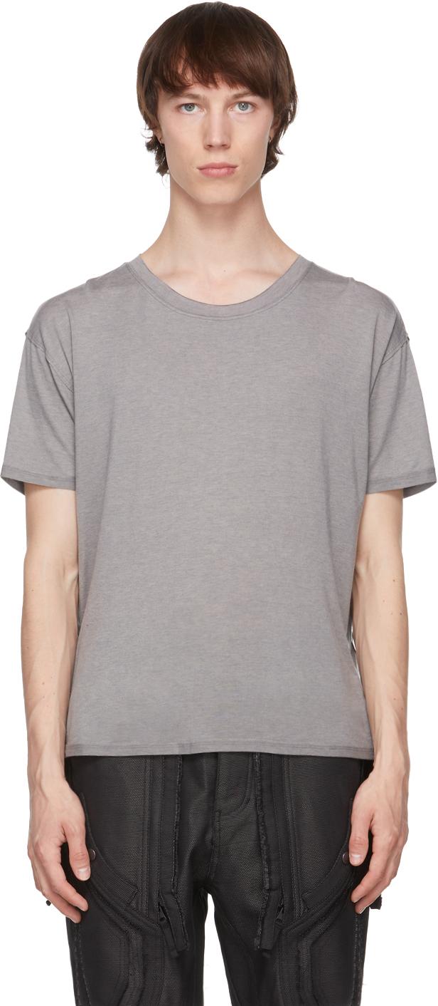 Grey Raw Scallop Hem T-Shirt
