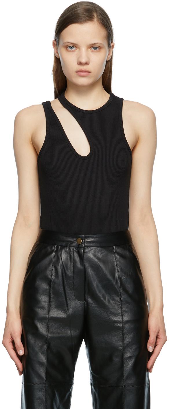 Matériel Tbilisi Black One Shoulder Rib Bodysuit