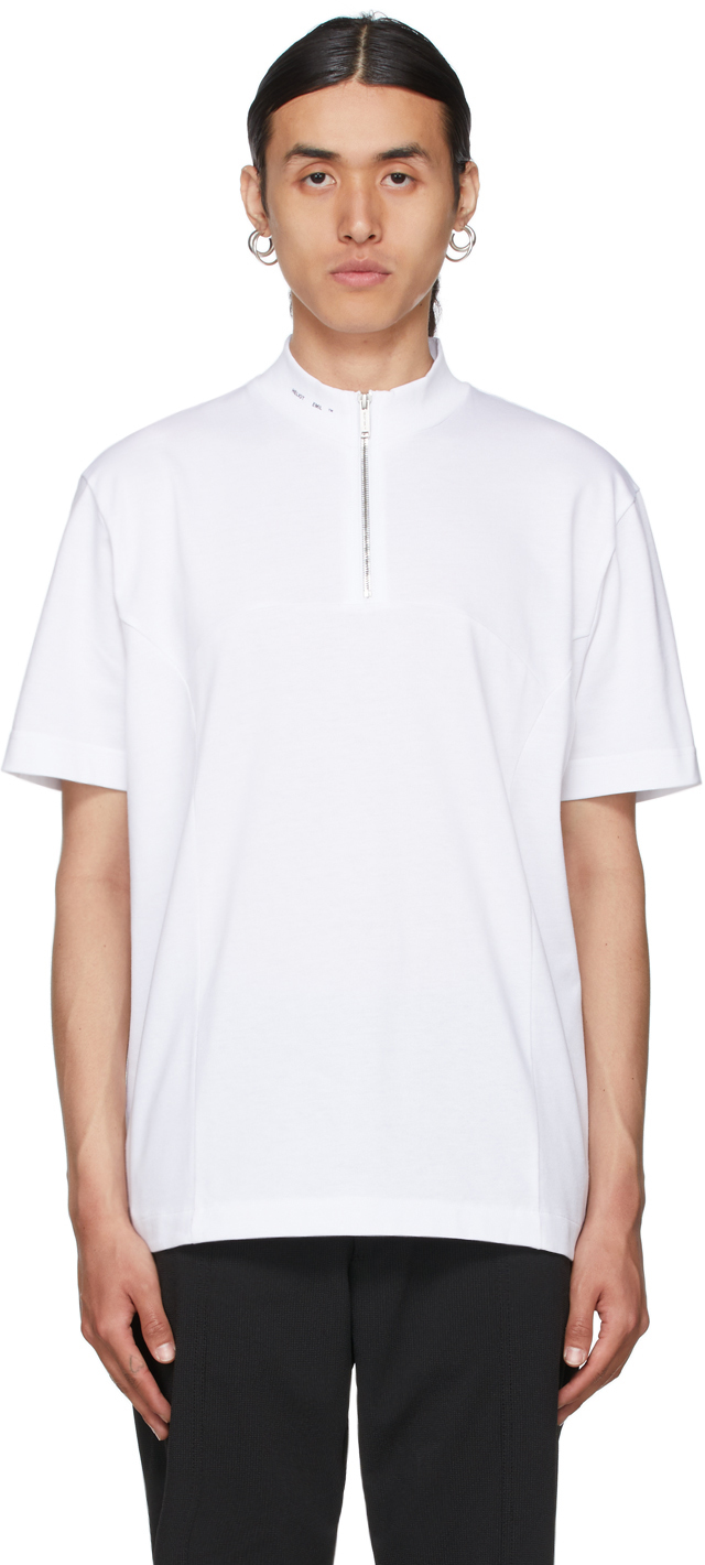 White Mock Neck Zip T-Shirt
