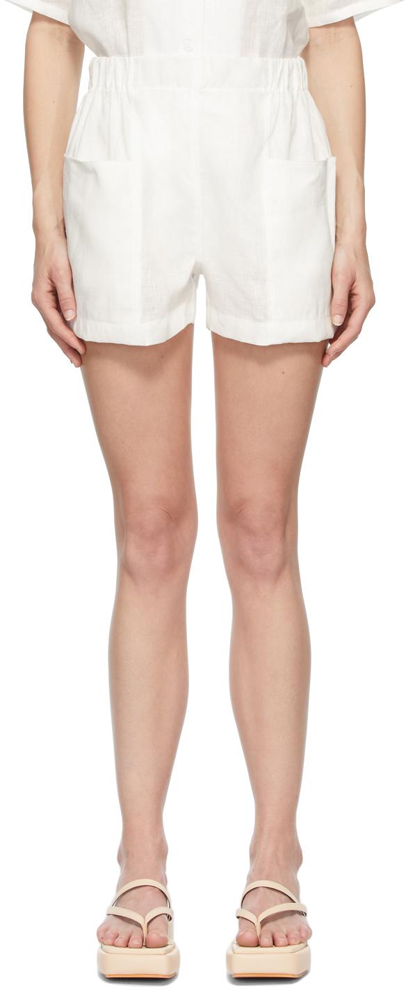 White Linen Blair Shorts