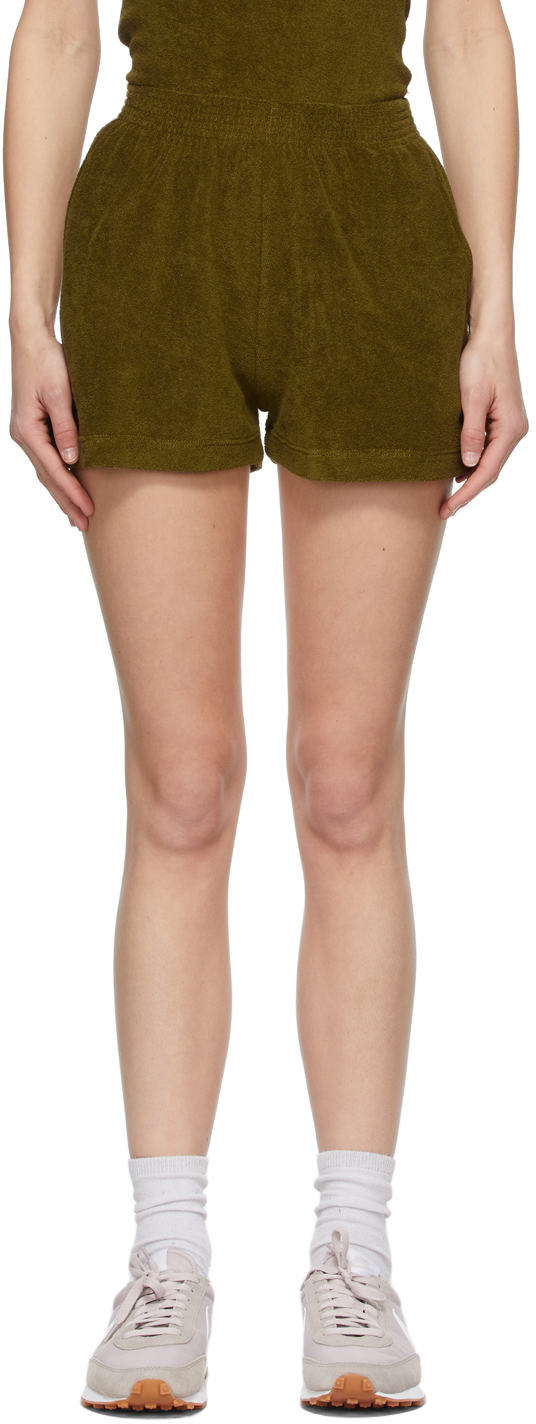 SSENSE Exclusive Green Terry Port Shorts