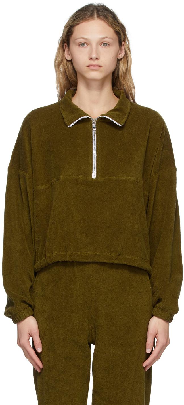 SSENSE Exclusive Green Terry Half-Zip Diana Pullover