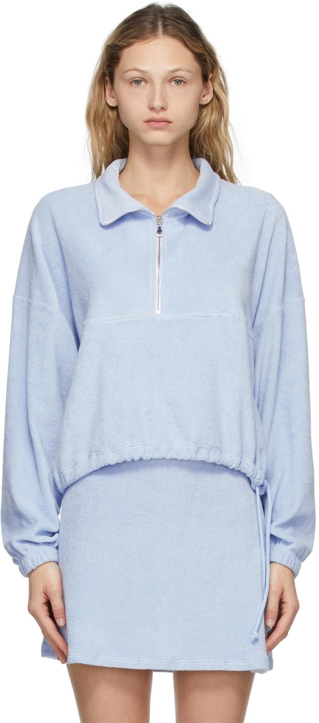 Blue Terry Half-Zip Diana Pullover