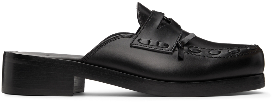 Black Polished Button Mules