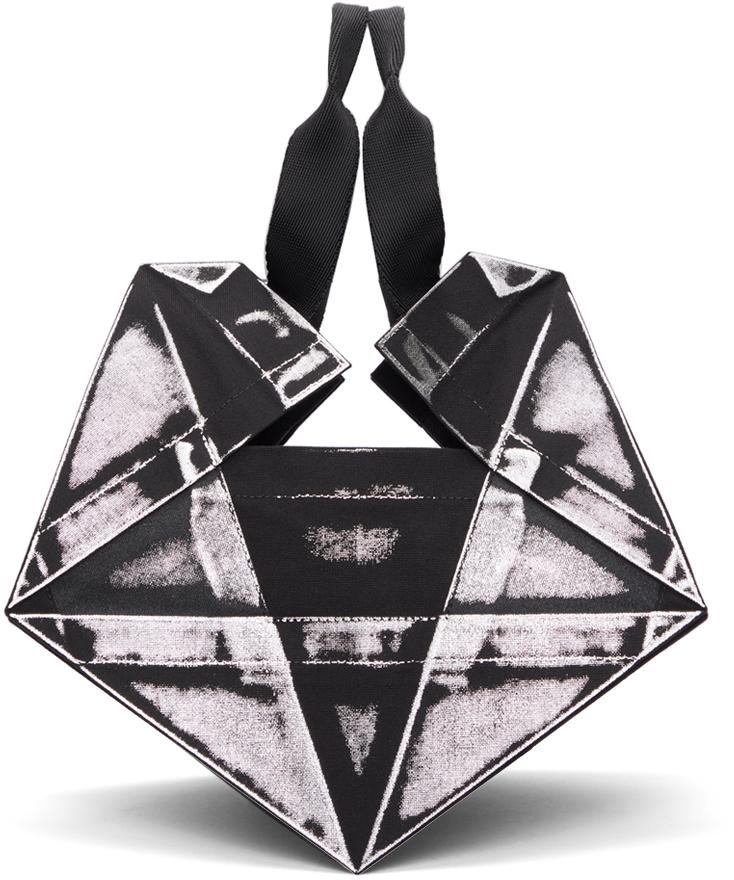 132 5 ISSEY MIYAKE Black Silver Luster Standard No 4 Bag 211302M172014
