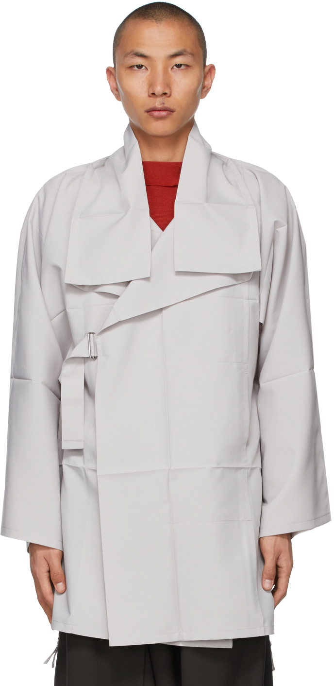 132 5 ISSEY MIYAKE Grey Fold Square Coat 211302M176017