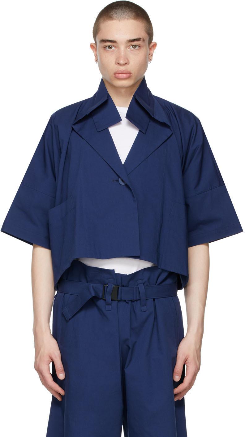 132 5 ISSEY MIYAKE Navy Washi Jacket 211302M180023