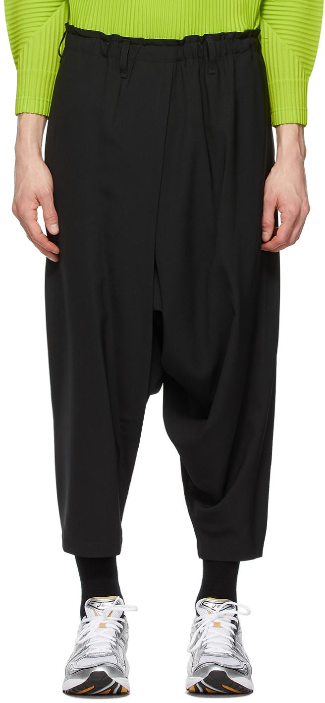 132 5 ISSEY MIYAKE Black Seamless Bottom Basic Trousers 211302M191002