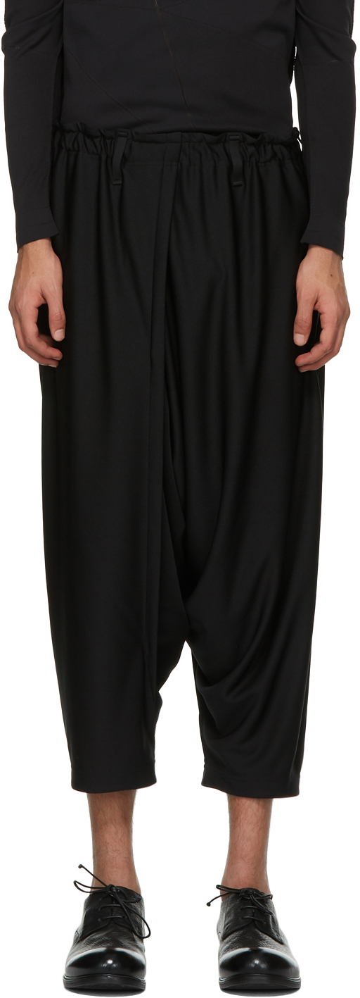 132 5 ISSEY MIYAKE Black Recycled Jersey Basic Trousers 211302M191004