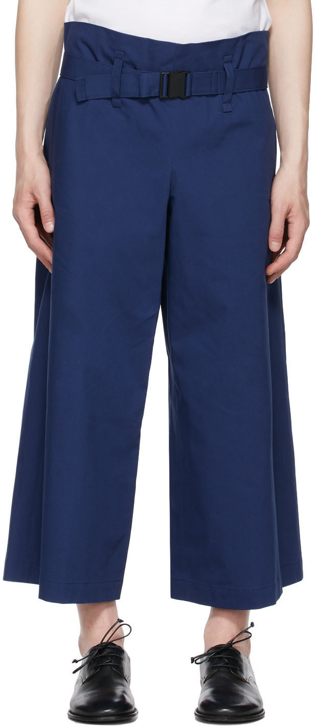 132 5 ISSEY MIYAKE Navy Washi Trousers 211302M191009
