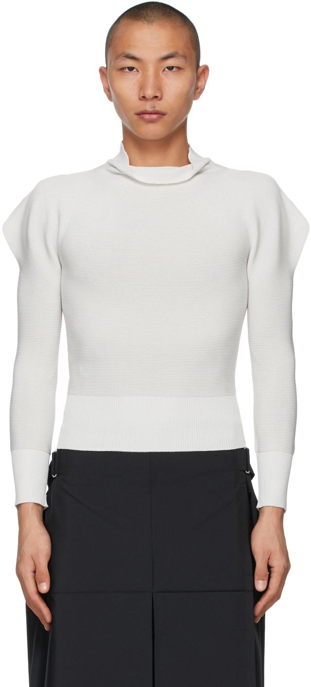 132 5 ISSEY MIYAKE Grey Flat Rib Knit Sweater 211302M201021