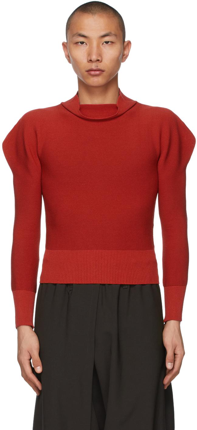 132 5 ISSEY MIYAKE Red Flat Rib Knit Sweater 211302M201022