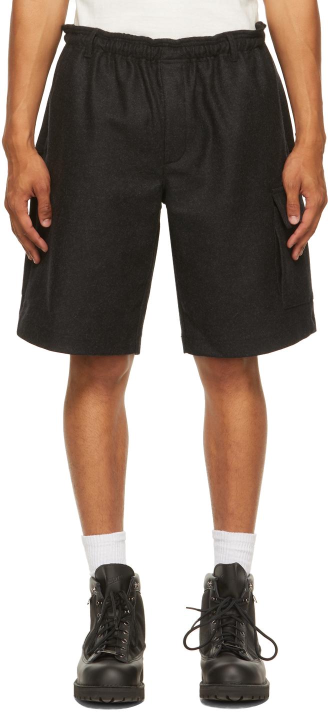 Grey Brushed Wool Shorts
