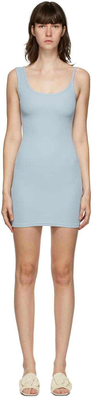 SSENSE Exclusive Blue Asymmetric Strap Mini Dress