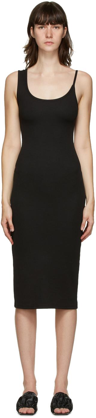 SSENSE Exclusive Black Asymmetric Strap Midi Dress