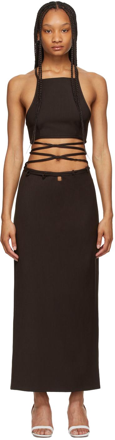 Brown Wrapped Interlock Tie Halter Dress